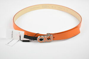 CALVIN KLEIN JEANS Unisex 90 CM Orange Logo Buckle Leather Narrow Belt 38657-GS
