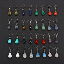 1 Pair Women Water Drop Natural Stone Pendant Dangle Earrings Jewelry 13x22mm