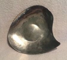 Mid Century Modern Hand Crafted Hammered Aluminum Dish Abstract Vintage