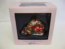 Peggy Abrams Mouth Blown Glass Christmas Ornament Santa on a Motor Cycle
