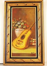 ''Composition with Guitar & Flowers''/ Original Oil on Canvas/ Signed  HONER