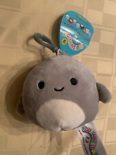 "NWT Squishmallow 3.5"" inch Clip Gordon the Gray & White Shark-2019 Summer!! RARE"
