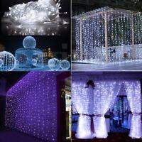 3MX3M 300 LED Fairy String Waterfall Curtain Window Light Lamp Wedding Party