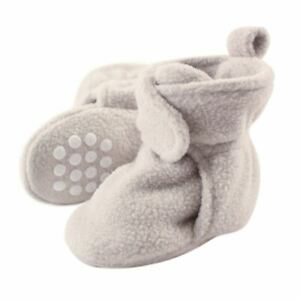 Luvable Friends Boy and Girl Fleece Booties, Light Gray