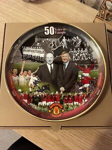 Manchester United Danbury Mint Plate '50 Years In Europe'
