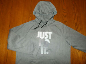 NIKE DRI-FIT JUST DO IT GRAY HOODED SWEATSHIRT MENS LARGE EXCELLENT CONDITION