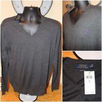 NWT $98.5 Mens POLO RALPH LAUREN Pima Cotton Gray V-Neck Sweater Pullover Size L