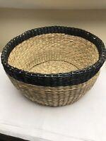Round Wicker Floor Storage Basket Vintage Style Hamper Trug Rustic Log Holder