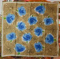 Vintage 1960's Abstract Metallic Floral Silk Vera Neumann Scarf (22 x 22)