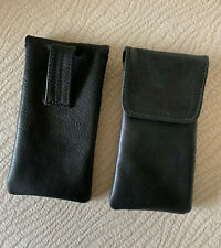 USA MADE Soft High Quality Eyeglass case pouch LEATHER Belt loop (Black)