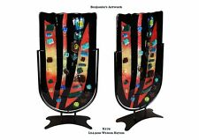 New Hand Made Fused Glass Vase Hand Painted Mosaic Style Black Red 24.5*10*47cm