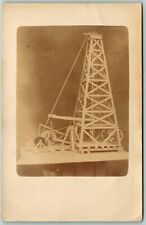 Postcard Oil Well Pump Contraption Real Photo RPPC c1900s Unposted