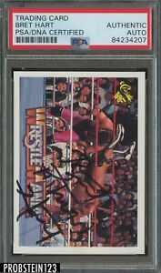 BRET THE HITMAN HEART SIGNED 1990 CLASSIC WWF TRADING CARD PSA DNA AUTOGRAPH