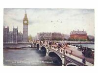 Antique colour printed postcard Westminster Bridge Shewing houses of parliament