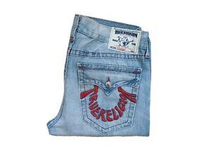 "True Religion W36"" L35"" Light Blue Denim Jeans Washed Straight Leg Fit A1552"