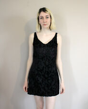 Vintage 80s Embroidered Floral Black Velvet Mini Dress - Extra Small/Small 6 8