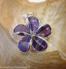 24mm Hawaiian Solid Sterling Silver Purple Faceted Crystal Plumeria CZ Pendant