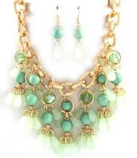MULTI MINT LUCITE BEAD DANGLE THICK GOLD TONE LINK BIB NECKLACE EARRING