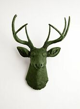 The Basil - Faux Forest Green Deer Head by White Faux Taxidermy