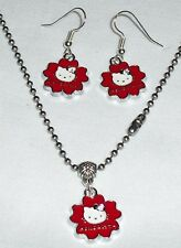 Red Hello Kitty Earrings Necklace on Stainless Steel Chain made in the USA