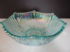 FENTON ART GLASS - Aquamarine Opalescent Drapery Bowl - 9 inch diameter