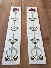 Victorian Cast Iron Fireplace Tile Set Liberty Ivory/Burgundy Design