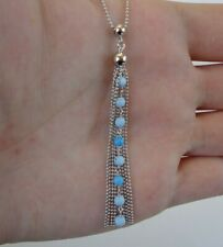 DROPPED TURQUOISE NECKLACE PENDANT W/ BEAD CHAIN  /925 STERLING SILVER  / 18''