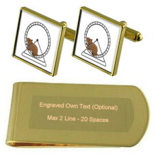 Hamster On A Wheel Gold-Tone Cufflinks Money Clip Engraved Gift Set