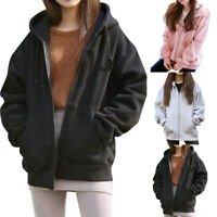 New Womens  Hooded Fleece Long Sleeve Loose Casual Zip Pockets Solid Jacket Coat