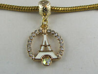 GP EIFFEL TOWER DANGLE CHARM WITH R'STONES EURO STYLE CHARM BRACELETS #DC 220