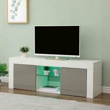 Grey 130cm TV Stand Gloss Front Television Cabinet Storage Drawer LED Light