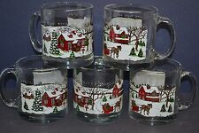 Libbey Glass Winter Village Clear Mugs Coffee Tea Horse Sleigh Snow Scene USA