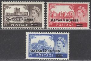 Qatar 1957 QEII Castles Type I Surcharge Set UM Mint SG13-15 cat £20 MNH