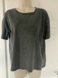 BooHoo Petite Grey Acid Wash Oversized T-Shirt Size 12