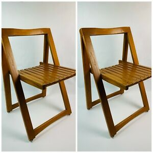 Vintage Mid Century Modern Wood Slat Folding Chairs Bazzini Italy Design