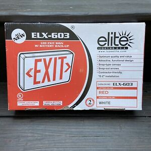 ELITE ELX-603-R Red SINGLE/DOUBLE FACE LED EMERGENCY EXIT SIGN BATTERY BACK UP