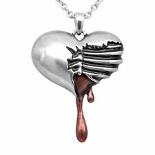 Bleeding Heart Necklace Skeleton Broken Heart Pendant Gothic Jewelry By Controse