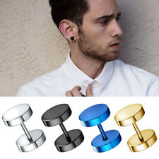 1 Pair Stainless Steel Mens Womens Black Cheater Plugs Stud Earrings 3mm-12mm