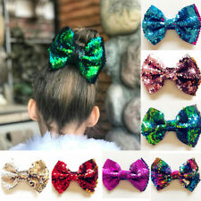 Two-sided Glitter sequins Hair Bow Clips Big Hair Clip for Baby Girls kid gifts