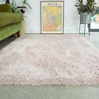Blush Pink Shaggy Rug Thick Soft Bedroom Rugs Fluffy Non Shed Living Room Rug