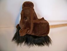 Aurora Hobby Horse Toy Stick Horse Plush Neigh & Gallop Sounds-Dk. Brown