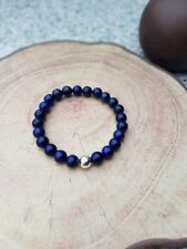 Lapis Lazuli Edelstein 925er sterling Silber Armband Bracelet Perlenarmband blau