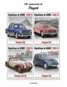 Guinea Cars Stamps 2020 MNH Peugeot 403 504 302 DS 202 Transport 4v M/S