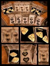 Vintage VAN DORAN EARRINGS Diamond Dust Gold Fans Hearts 1970s NEW LARGE LOT