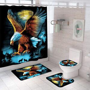 Eagle Shower Curtain Bathroom Rug Set Thick Bath Mat Non-Slip Toilet Lid Cover