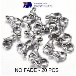 NO FADE 20 Pcs 15x9mm 304 Stainless Steel Silver Lobster Clasps Polished DIY