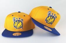 New Mitchell & Ness Paint Drip Golden State Warriors Snapback Hat Royal / Yellow