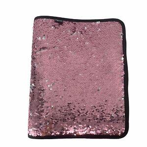 Mead Brand Pink & Silver Sequin Flip Zip Around Three Ring Binder 1.5 In School