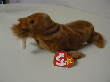 Ty Beanie Baby PAUL Plush Brown Walrus with White Tusk and Black Eyes Original