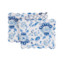 """SASHA BLUE Quilted Reversible 51"""" Table Runner by C&F - Blues and White"""